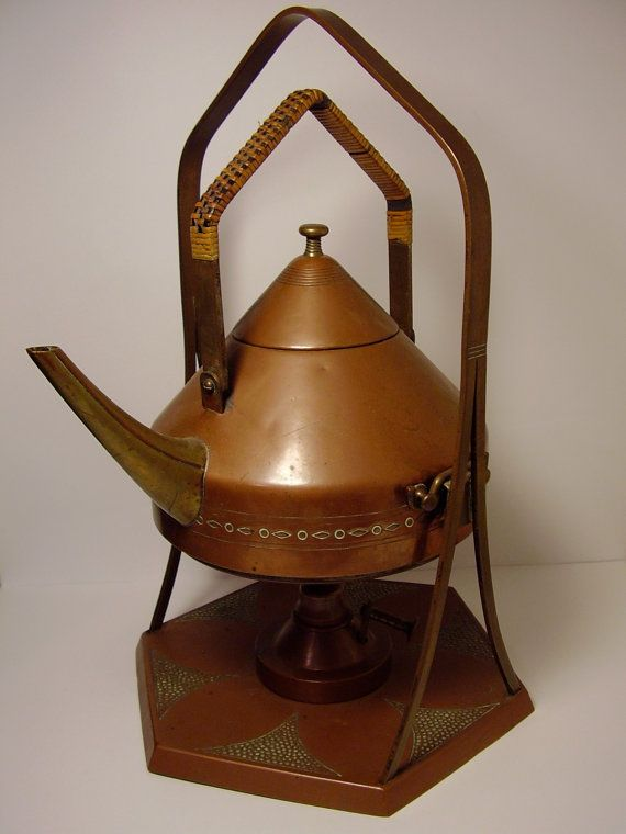Antique 1900s Arts & Crafts Art Nouveau Secessionist Jugendstil German Copper Samovar or Spirit Kettle and Stand £125.00