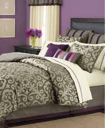 grey comforter | ... STEWART - Brownstone Damask Taupe Grey 24-Piece Queen Comforter Set