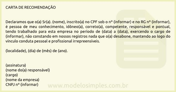 Modelo de Carta de Recomendação Profissional