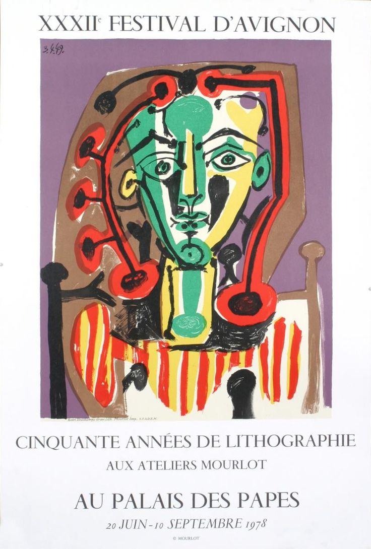 1978 Picasso Palais des Papes, Tete de Femme Mourlot Lithograph