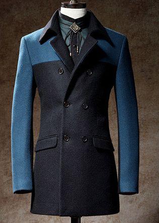 Amazing British Style Mens Cool Blue 2 Tone Wool Pea Coat