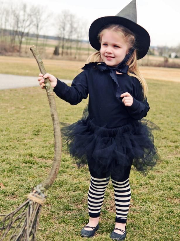 The Halloween crafting experts at HGTV.com share step-by-step instructions for making a children's witch costume.