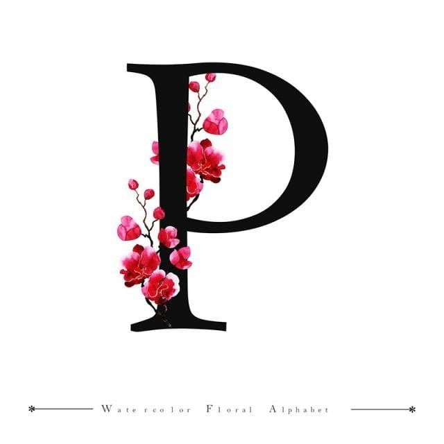 P Alphabet Letter Watercolor Floral Background Watercolor Color Floral Png And Vector With Transparent Background For Free Download Lukisan Huruf Lukisan Huruf