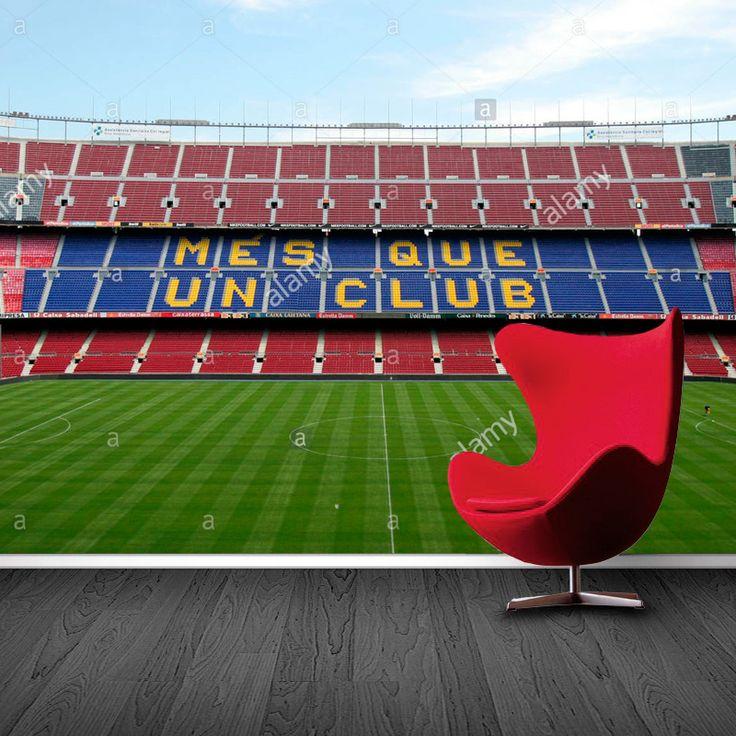 Fotobehang FC Barcelona stadion | Maak het jezelf eenvoudig en bestel fotobehang voorzien van een lijmlaag bij YouPri om zo gemakkelijk jouw woonruimte een nieuwe stijl te geven. Voor het behangen heb je alleen water nodig!   #behang #fotobehang #print #opdruk #afbeelding #diy #behangen #barcelona #stadion #voetbal #voetballen #club