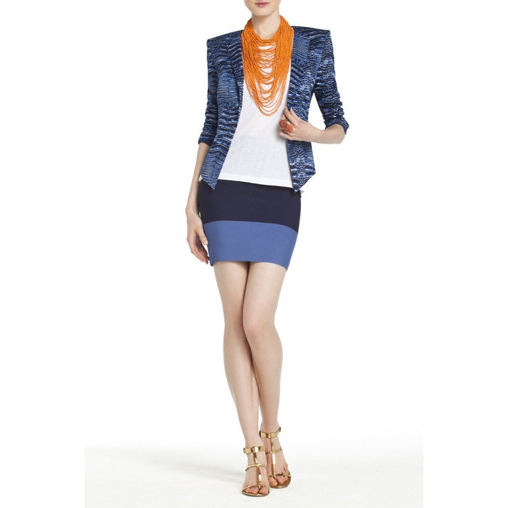 Mix prints with this gorgeous crocodile textured blazer and color blocked power skirt from BCBG.My new purchase:)