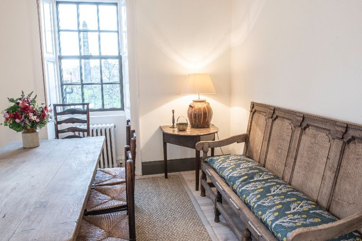Bleached oak dining table and oak bench, kitchen, Rock House, Edinburgh