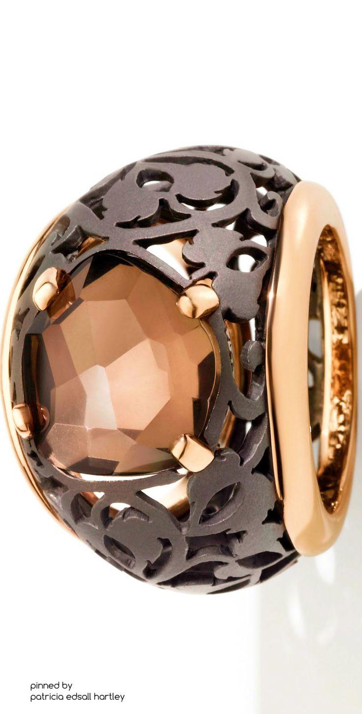 Pomellato titanium and rose gold Arabesque Noir ring