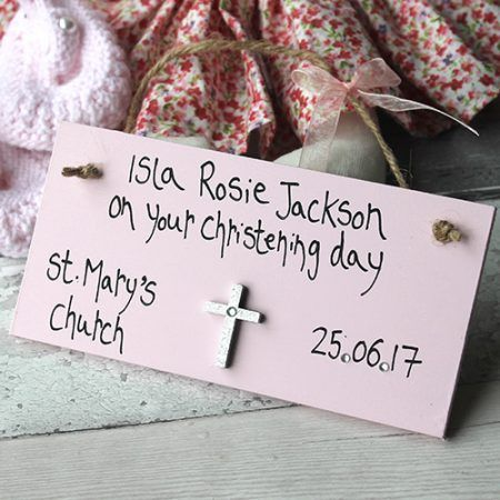 Beautiful Handmade Christening Gifts For Girls Sign - Personalised Christening presents with your own name , date and place of christening. Cahnge it to Naming Day or Baptism etc. handmade wooden gift plaque sign