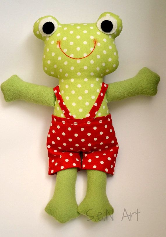 Fabric Frog Toy Soft Frog Toy Handmade Frog With Scarf by SenArt1