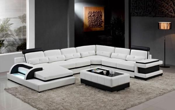 Luxury Contemprory U Shape Sofa Modular Sectional Leather Lounge 5
