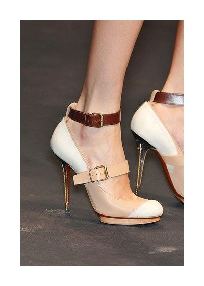 Zapatos de mujer - Womens Shoes - Lanvin Double Platform Mary Jane with  White Toe-Cap and Ankle Strap