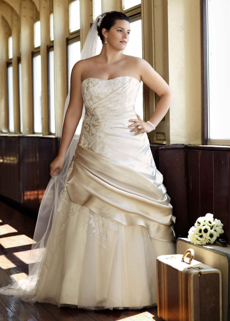 Cute Champagne colored Wedding dress David us Bridal I actually make this look good