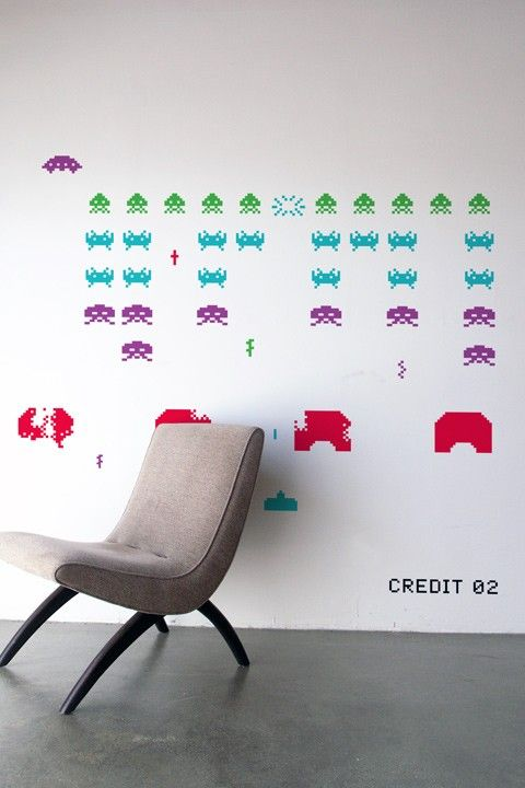 Space Invaders ~ Re-StikIdeas, Restik, Games Room, Spaces Invaders, Wall Decals, Space Invaders, Wall Stickers, Invaders Wall, Wall