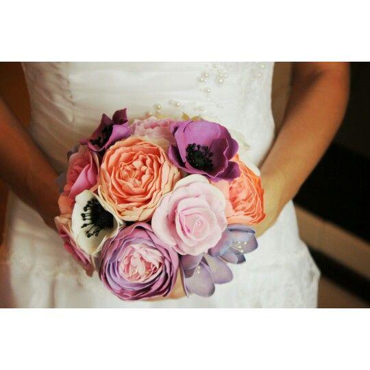 Букет невесты, цветы из фоамирана.