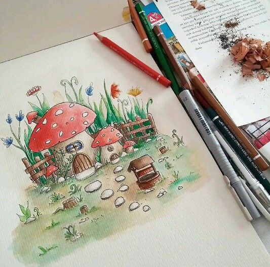 Watercolour #cizgiliyorum #mushroom