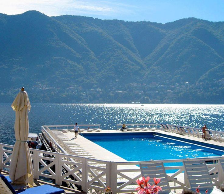 This is truly how it looks!! How stunning is the floating pool at Lake Como's Villa d'Este in northern Italy-overlooking the Italian Alps