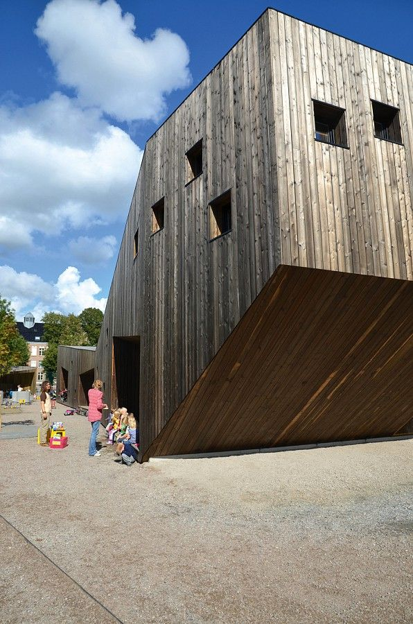 The external form of the building creates places for the children to play.