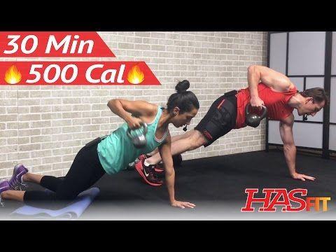 30 Min HIIT Kettlebell Workout for Fat Loss & Strength - Kettlebell Training Exercises for Men Women - YouTube