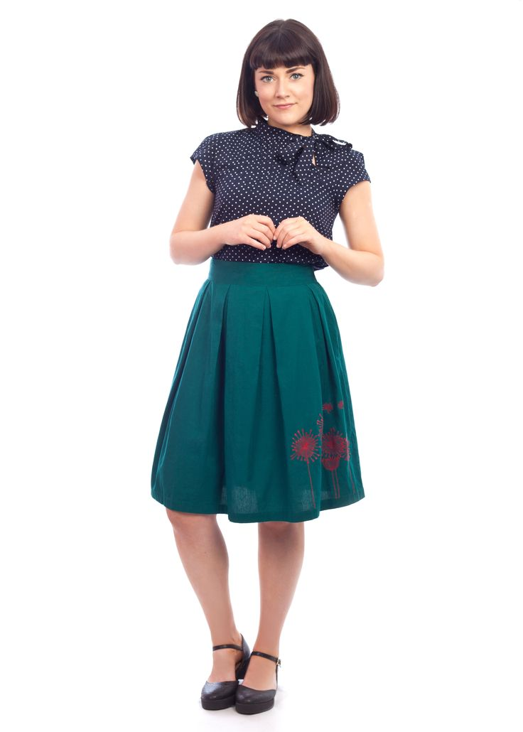 The embroidered Anita skirt from Circus #embroidery #green #vintage #style #1950s #skirt