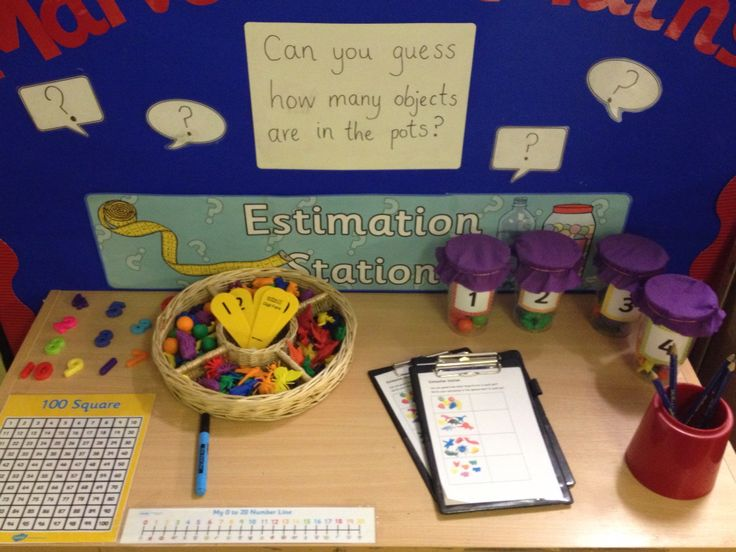 Interactive maths area - estimation station using Twinkl display resources