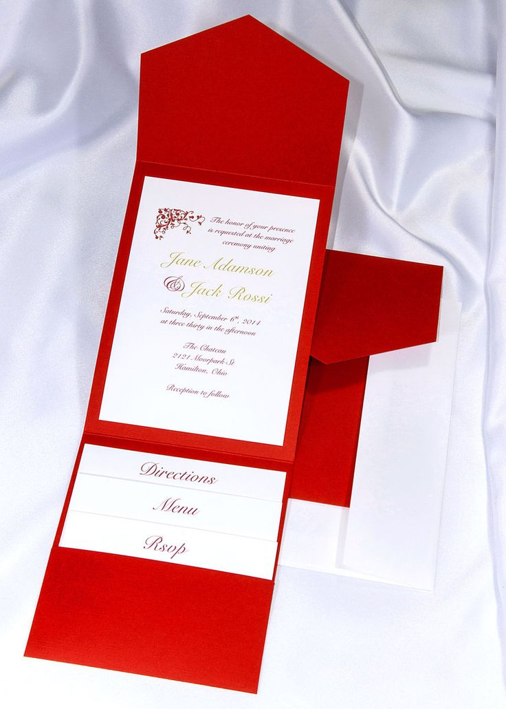 wedding invitations unique diy%0A Print your own red wedding invitations  Red pocket wedding invitations  Red  printable invitation kits  Red DIY wedding invitations