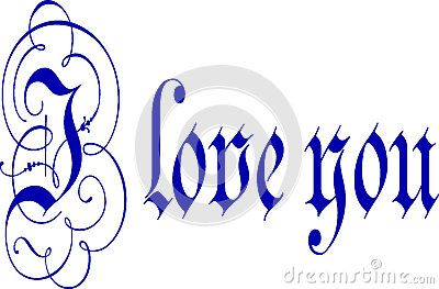 I Love You Calligraphy Pen And Ink -  © Morgan Capasso The words I Love You written in blue pen and ink calligraphy with flourishes.