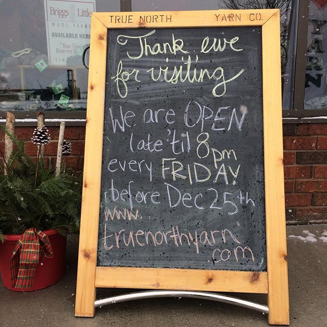 We're open late til 8pm today! #letitsnow #openlate #knit #crochet
