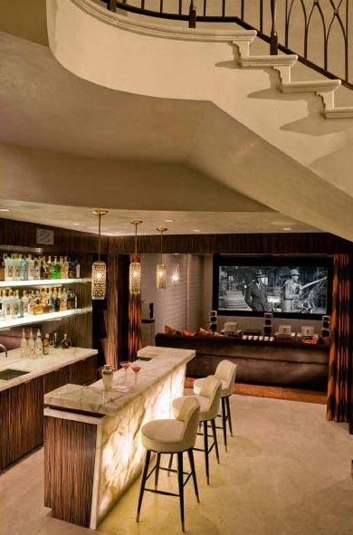 Movie Theater And Game Room With Billiards And A Wet Bar. Note How The  Lighting