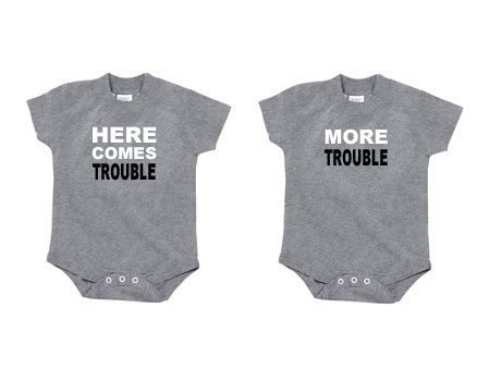 Love these!!! Twin Onesies Here Comes Trouble and More by LittleHipsterTees, $34.00