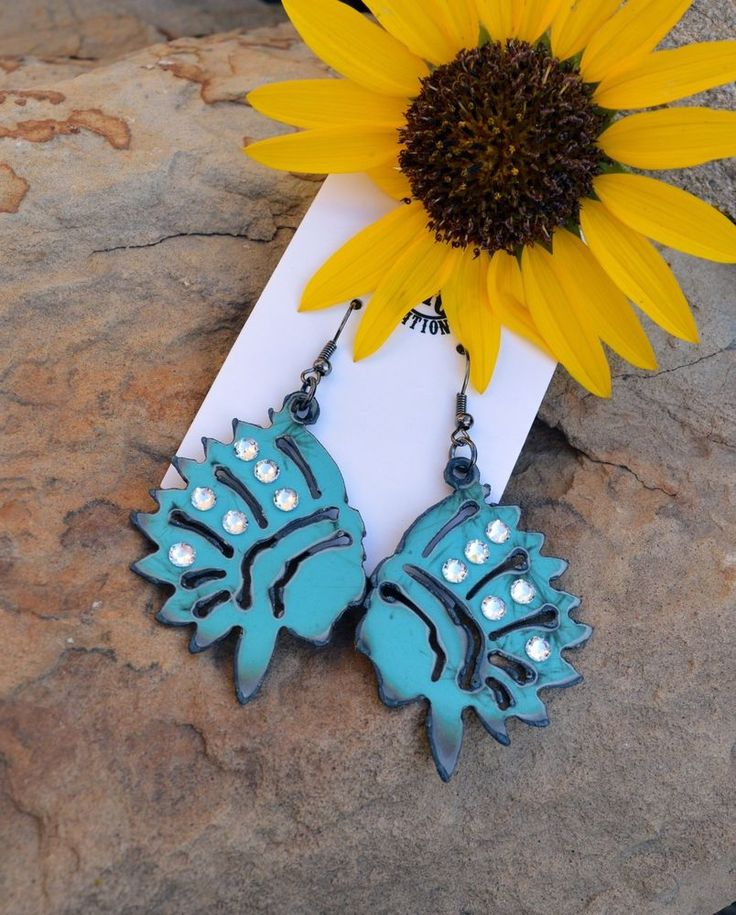 COWGIRL BLING EARRINGS TURQUOISE TRIBAL WARRIOR ARTISAN CRAFTED IN USA Gypsy…