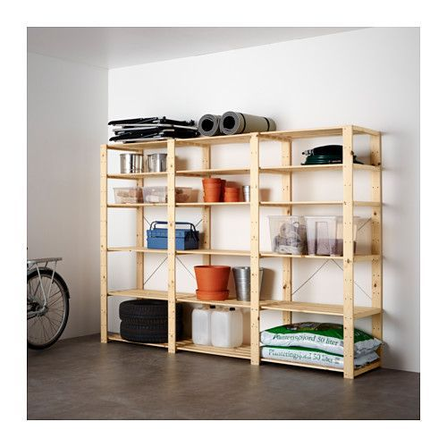 HEJNE 3 sections/shelves, softwood softwood 230x50x171 cm