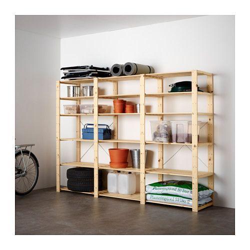 HEJNE 3 sections/shelves, softwood softwood 230x50x171 cm