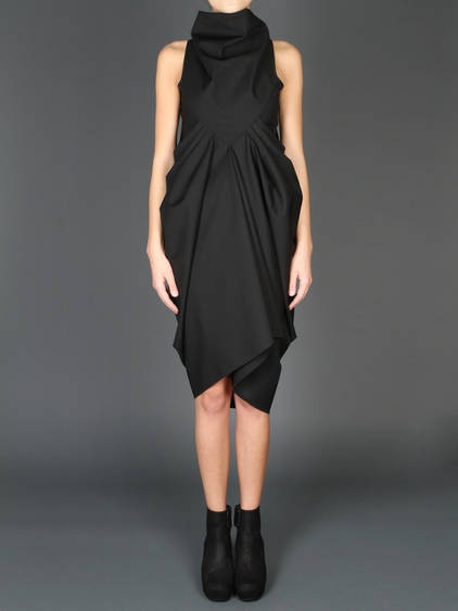 RICK OWENS SLEEVESLESS DRESS WITH HIGH OVER COLLAR AND DRAPED PANEL ON FRONT