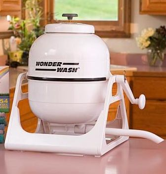 Wonder wash, hand powered, portable washing machine. Sounds great for camping