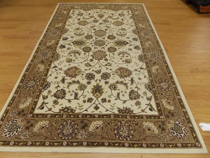 X Ivory Brown Gold Hand Knotted Wool Oriental Rug Nourison 2000 2213