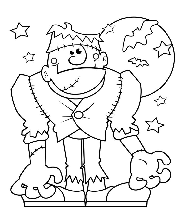 free printable frankenstein monster halloween coloring page for kids - Halloween Coloring Pages Kids