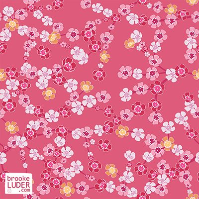 Seamless Spring Cherry Blossom Pattern by Brooke Luder - ditsy patterns, wallpaper, backgrounds, repeat, repeating, fabric, print, pink, cherry blossom, flowers, japanese, petals, illustration   https://stock.adobe.com/nz/contributor/206825898/brooke