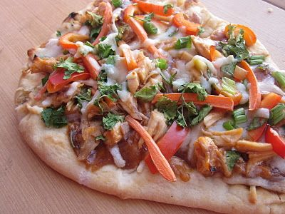 Thai Chicken Pizza. I think I'm gonna modify this with the cauliflower pizza crust and not use the carrots. Lean and green friendly!