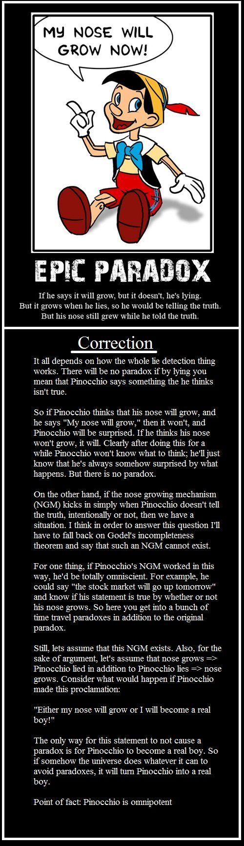"Knowing Pinocchio's nose grows whenenver he tells a lie what would be to happen if he says out of the blue: ""My nose will grow now"""