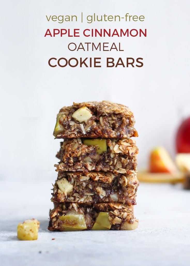 Vegan Apple Cinnamon Oatmeal Cookie Bars Recipe Apple Cinnamon