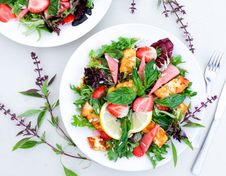 Helium with Strawberry, Watermelon and Basil Salad