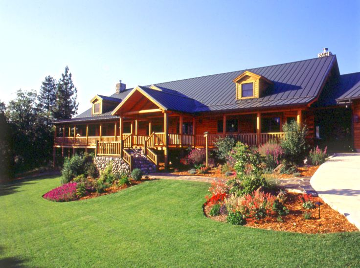 Log Home With Nice Landscaping Log Homes Inside Out Pinterest Logs Exterior And Cabin