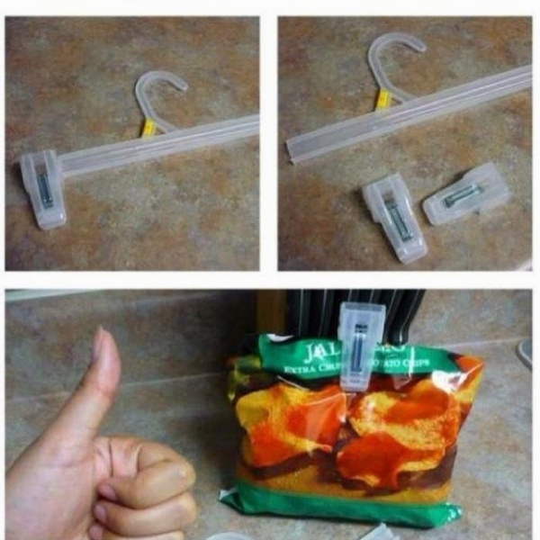 hey good thinking!Good Ideas, Chips Bags, Pants, Bags Clips, Great Ideas, Life Hacks, Diy, Clothing Hangers, Chips Clips