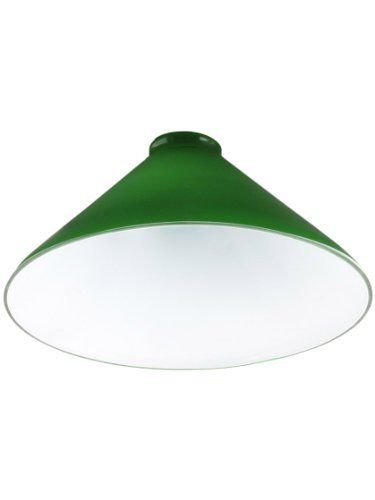 "10"" Diameter Green Cased Opal Cone Shade With 2 1/4"" Fitter. Lamp Glass. by American De Rosa. $32.99. 10"" diameter dark green cone shade with 2 1/4"" fitter. This cased opal shade is hand blown and measures 4 3/4"" tall. This glass shade is great for pendant fixtures and game table lights with 2 1/4"" fitters.How are glass lamp shades measured?"