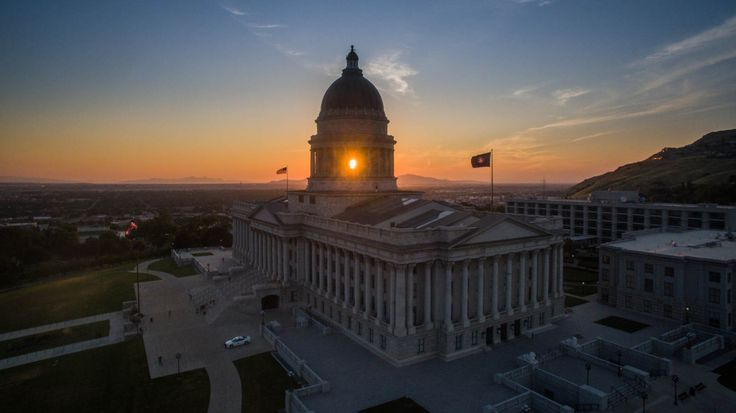 Drone Photos - Utah Capitol Building at sunset