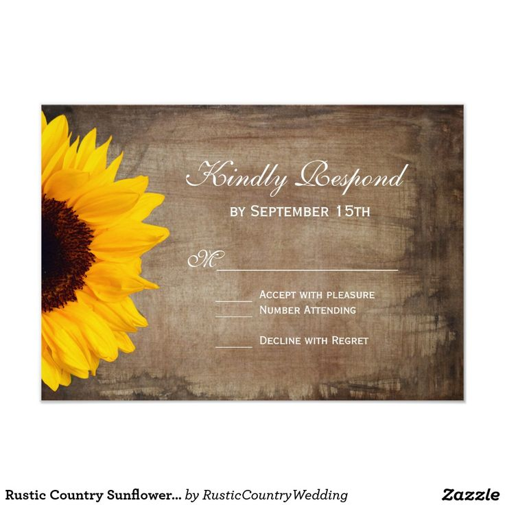 Rustic Country Sunflower Wedding RSVP Cards The