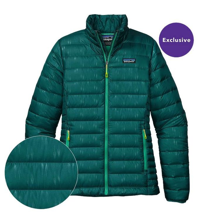 Patagonia Women\'s Down Sweater Jacket - Falling Feathers: Arbor Green FABG