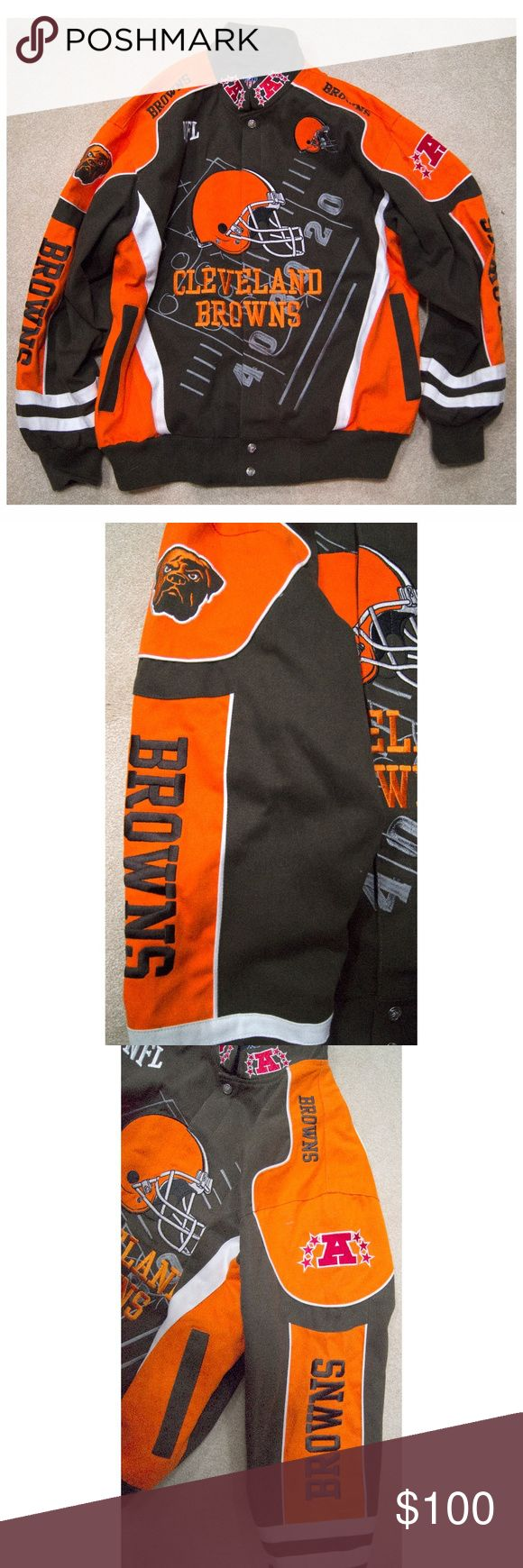 NFL BROWNS **NWOT** Football Heavy Weight Jacket Our favorite football team! Go Dawgs. Ha. We're more into the Indians, so selling this jacket which literally has never been worn we just took the tag off. Feel free to make an offer. NFL Jackets & Coats Bomber & Varsity