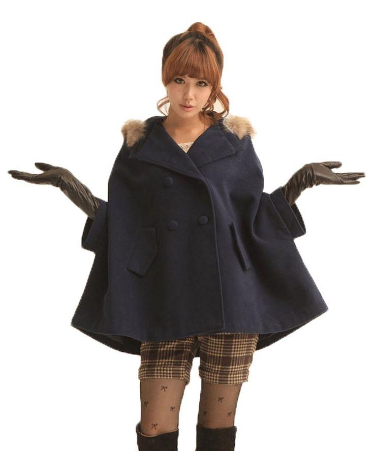 Amazon.co.jp: XASAP コート ポンチョ風 ファー フード レディース ケープ ダブルボタン フード付き フード付き (ブルー): 服&ファッション小物通販