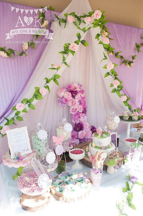http://aandklollybuffet.com.au/pink-purple-fairy-woodland-birthday-dessert-table/